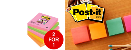 See Deal Post-it Super Sticky Notes 76x76mm Capetown Rainbow Ref 654SN Pack of 5 2 for 1 Jan-Mar 2019 07468X