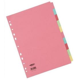 Concord Subject Dividers 10-Part Multipunched 160gsm A4 Assorted Ref 51199