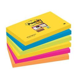 Cheap Stationery Supply of 3M Post-It Super Sticky Colour Note Pads (76mm x 127mm) Rio (1 Pack of 6 Pads, 90 Sheets Per Pad) Offer: Buy 3 Packs for the Price of 2 (January - March 2015) 655-6SS-RIO-EU-XX200 Office Statationery