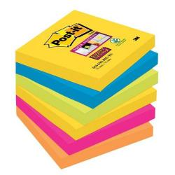 Cheap Stationery Supply of 3M Post-It Super Sticky Colour Note Pads (76mm x 76mm) Rio (1 Pack of 6 Pads, 90 Sheets Per Pad) Offer: Buy 3 Packs for the Price of 2 (January - March 2015) 654-6SS-RIO-EU-XX200 Office Statationery