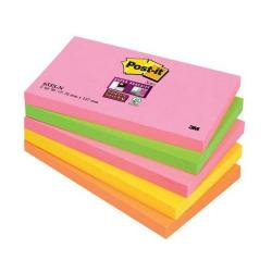Cheap Stationery Supply of 3M Post-It Super Sticky Colour Note Pads (76mm x 127mm) Neon Rainbow (1 Pack of 5 Pads, 90 Sheets Per Pad) Offer: Buy 3 Packs for the Price of 2 (January - March 2015) 655-SN-XX200 Office Statationery
