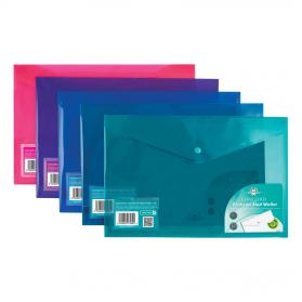 Concord Stud Wallet File Vibrant Polypropylene Foolscap Assorted Ref 7089-PFL Pack of 5