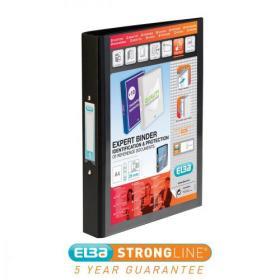 Elba Vision Ring Binder PVC Clear Front Pocket 2 O-Ring Size 25mm A4 Black Ref 100080891 Pack of 10