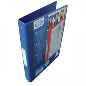 Elba Vision Ring Binder PVC Clear Front Pocket 2 O-Ring Size 25mm A4 Blue Ref 100080886 Pack of 10