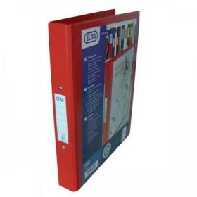 Elba Vision Ring Binder PVC Clear Front Pocket 2 O-Ring Size 25mm A4 Red Ref 100080890 Pack of 10