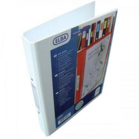 Elba Vision Ring Binder PVC Clear Front Pocket 2 O-Ring Size 25mm A4 White Ref 100080889 Pack of 10
