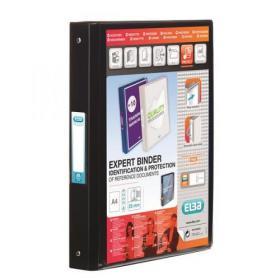 Elba Vision Ring Binder PVC Clear Front Pocket 4 O-Ring Size 25mm A4 Black Ref 100080881 Pack of 10