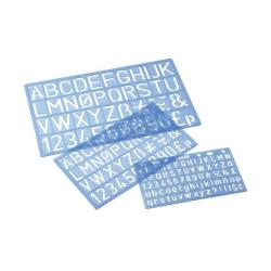 Cheap Stationery Supply of Stencil Pack of Three Templates Letters/Numbers/Symbols 10/20/30mm with PVC Sleeve Blue Tint Office Statationery