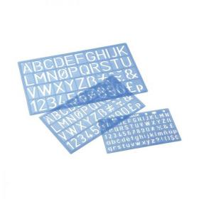 Stencil Pack of Three Templates Letters/Numbers/Symbols 10/20/30mm with PVC Sleeve Blue Tint