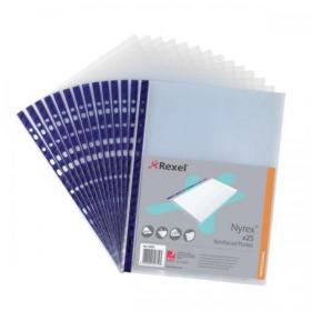 Rexel Nyrex Pocket Reinforced Blue Strip Top-opening 85 Micron A4 Clear Ref 12233 Pack of of 25