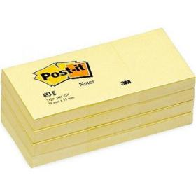 Post-it Canary Yellow Notes Pad of 100 Sheets 38x51mm Ref 653E Pack of 12