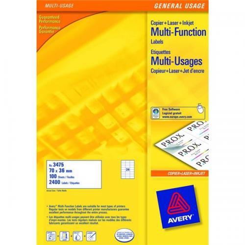 Avery Multipurpose Labels Laser Copier Inkjet 24 Per Sheet