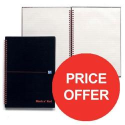Cheap Stationery Supply of Black n Red (A4) 90g/m2 140 Pages Recycled Ruled Hard Back Glossy Wirebound Notebook (Black) Pack of 5 - Price - Offer (Jul-Sep 2016) 100080189-XX904 Office Statationery