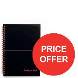 Cheap Stationery Supply of Black n Red (A5) Glossy Hardback Wirebound Notebook 90g/m2 140 Pages Ruled and Perforated Recycled (Black) Pack of 5 - Price Offer (Jul-Sep 2016) 100080113-XX904 Office Statationery