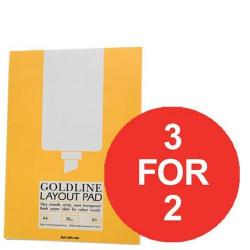 Cheap Stationery Supply of Goldline (A4) Layout Pad Bank Paper 50g/m2 80 Sheets Pack of 5 (3 For 2) July - September 2016 GPL1A4Z-XX904 Office Statationery