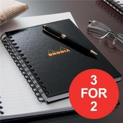 Cheap Stationery Supply of Rhodia (A4) Business Book Wirebound Hard Back Ruled Margin (Black) Pack of 3 (3 For 2) January - March 2017 119232C-XX4 Office Statationery