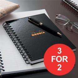 Cheap Stationery Supply of Rhodia (A5) Business Book Wirebound Hard Back Ruled Margin (Black) Pack of 3 (3 For 2) January - March 2017 119233C-XX4 Office Statationery
