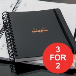 Cheap Stationery Supply of Rhodia (A4+) Business Book Wirebound Polypropylene Cover (Black) Pack of 3 (3 For 2) January - March 2017 119236C-XX4 Office Statationery