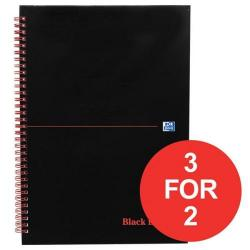 Cheap Stationery Supply of Black n Red (A4) 90g/m2 140 Pages Ruled and Perforated Wirebound Notebook (Pack of 5) - Offer 3 for 2 (Jan-Mar 2017) 100102248-XX4 Office Statationery
