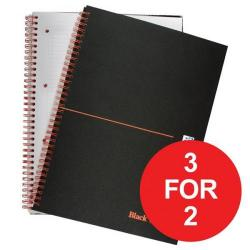Cheap Stationery Supply of Black n Red (A4) 90g/m2 140 Pages Ruled and Perforated Wirebound Notebook (Matt Black) Pack of 5 - Offer 3 for 2 (Jan-Mar 2017) 100080173-XX44 Office Statationery