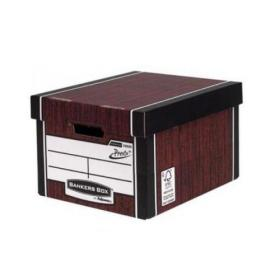 Bankers Box Premium Storage Box (Presto) Tall Woodgrain FSC Ref 7260502 Pack of 10