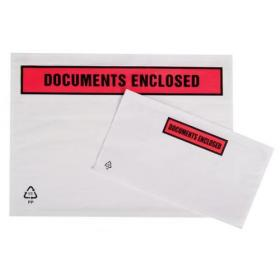 Packing List Document Wallet Polythene Documents Enclosed Printed Text A7 113x100mm White Pack of 1000