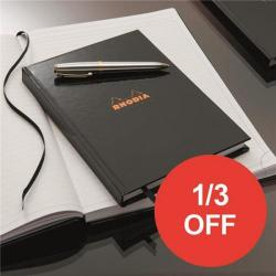 Cheap Stationery Supply of Rhodia (A4) Business Book Casebound Hard Back Ruled (Black) Pack of 3 - OFFER 1/3 OFF (Apr-Sep 2017) 119230C-XX810 Office Statationery