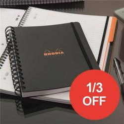 Cheap Stationery Supply of Rhodia (A5+) Business Book Wirebound Polypropylene Cover Ruled Margin (Black) Pack of 3 - OFFER 1/3 OFF (Apr-Sep 2017) 119237C-XX810 Office Statationery