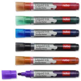 Nobo Marker Liquid Ink Dry-wipe W/bd/Flipchart/OHP Bullet Tip 3mm Line Assorted Ref 1901072 Pack of 12