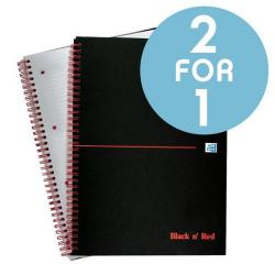 Cheap Stationery Supply of Black n Red (A4) 90g/m2 140 Pages Ruled and Perforated Wirebound Notebook(Matt Black) Pack of 5 - Offer 2 for 1 (Sep 2017) 100080173-XX450 Office Statationery