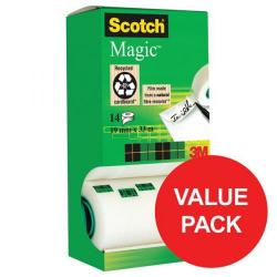 Cheap Stationery Supply of 3M Scotch Magic 14 Tape Tower (19mm x 33m) Pack of 12 Rolls + 2 x Extra Rolls FREE - Value Pack (Jul-Sep 2017) 81933R14-Q3 Promo Office Statationery