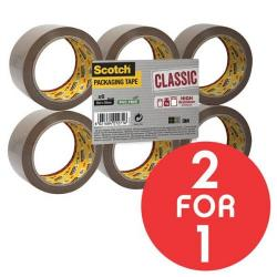 Cheap Stationery Supply of 3M Scotch Classic (50mm x 66m) Packaging Tape (Brown) Pack of 6 Rolls - OFFER 2 for 1 (Oct - Nov 2017) CL5066F6B-Q4 Promo Office Statationery
