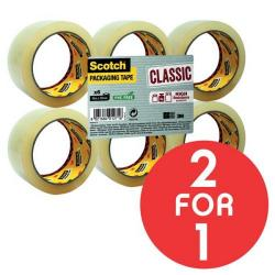 Cheap Stationery Supply of 3M Scotch Classic (50mm x 66m) Packaging Tape (Clear) Pack of 6 Rolls - OFFER 2 for 1 (Oct - Nov 2017) CL5066F6T-Q4 Promo Office Statationery