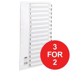 Cheap Stationery Supply of Concord Classic (A4) Index Mylar Punched 4 Holes 1-15 White 3 For 2 April - June 2018 08166X-XX Office Statationery