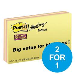 Cheap Stationery Supply of Post-it Super Sticky Meeting Notes 45 Sheets Bright Colours 6445SSP Pack of 4 2 for 1 Oct-Dec 2018 Office Statationery