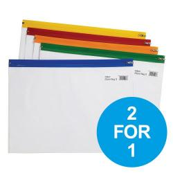 Cheap Stationery Supply of Snopake Zippa Bag S Classic A4 Plus Assorted 12814 Pack of 25 2 for 1 Oct-Dec 2018 Office Statationery