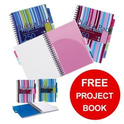 Cheap Stationery Supply of Pukka Pad Project Book Wirebound Ruled A4 Assorted PROBA4 Pack of 3 FREE A5 Notebooks Jan-Mar 2019 Office Statationery