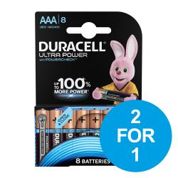 Cheap Stationery Supply of Duracell Ultra Power MX2400 Battery Alkaline 1.5V AAA 81235515 Pack of 8 2 for 1 Dec 2019 Office Statationery