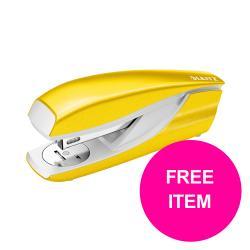 Cheap Stationery Supply of Leitz NeXXt 30 Sheet Stapler Yellow 55021016 FREE Leitz NeXXt Hole Punch 30 Sheet Yellow Jan-Mar 20  Office Statationery