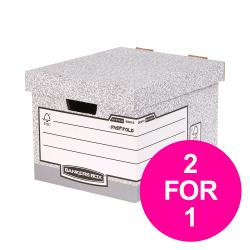 Cheap Stationery Supply of Bankers Box by Fellowes Standard Storage Box Foolscap FSC 00810-FF Pack of 10 2 for 1 Jan-Mar 20 Office Statationery