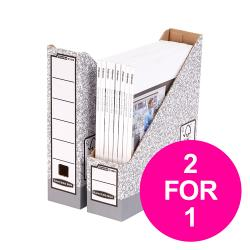 Cheap Stationery Supply of Bankers Box by Fellowes Magazine File Gry/White 0186004 Pack of 10 2 for 1 Jan-Mar 20 Office Statationery