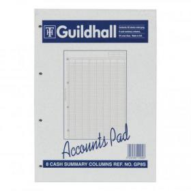 Guildhall Account Pad 8 Cash Column and Summary Punched 4 holes 60 Sheets A4 Ref GP8SZ