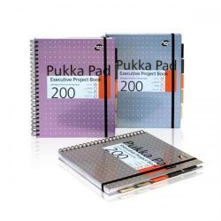 Cheap Stationery Supply of Pukka Pad Project Book Wirebound 200pp 80gsm A4+ Metallic 6970-MET Pack of 3 Office Statationery