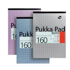 Pukka Pad Refill Pad Headbound 80gsm Ruled Margin Punched 4 Holes 160pp A4 Assorted Ref REF80/1 Pack of 6