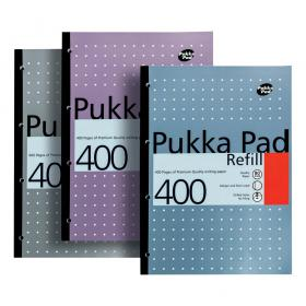 Pukka Pad Refill Pad Sidebound 80gsm Ruled Margin Punched 4 Holes 400pp A4 Assorted Ref REF400 Pack of 5