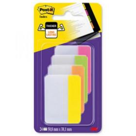 Post-it Index Filing Tabs Strong Flat 51x38mm Six Each of Pin/Lim/Ora/Yel Ref 686-PLOY Pack of 24