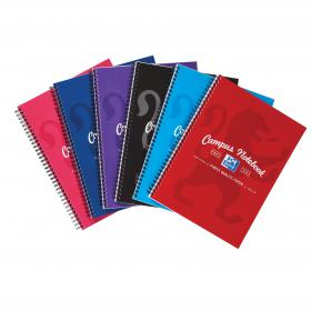 Oxford Campus Nbk Wbnd 90gsm Ruled Margin Perf Punched 4 Holes 140pp A4+ Assorted Ref 400013920 Pack of 5