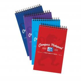 Oxford Campus Reporters Notebook 90gsm Ruled Perforated 140pp 125x200mm Assorted Ref 400013924 Pack of 10