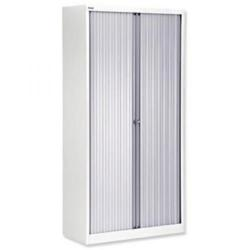Cheap Stationery Supply of Bisley A4 EuroTambour ET410/19 (1980mm) Tall Cupboard with 4 Shelves (White Frame/Silver Shutters) ET410/19/4S.SL-ab9 Office Statationery