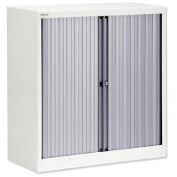 Cheap Stationery Supply of Bisley A4 EuroTambour Et410/10 (1030mm) Low Cupboard with 2 Shelves (White Frame with Silver Shutters) ET410/10/2S.SL-ab9 Office Statationery